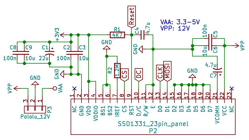 SSD1331 Circuit