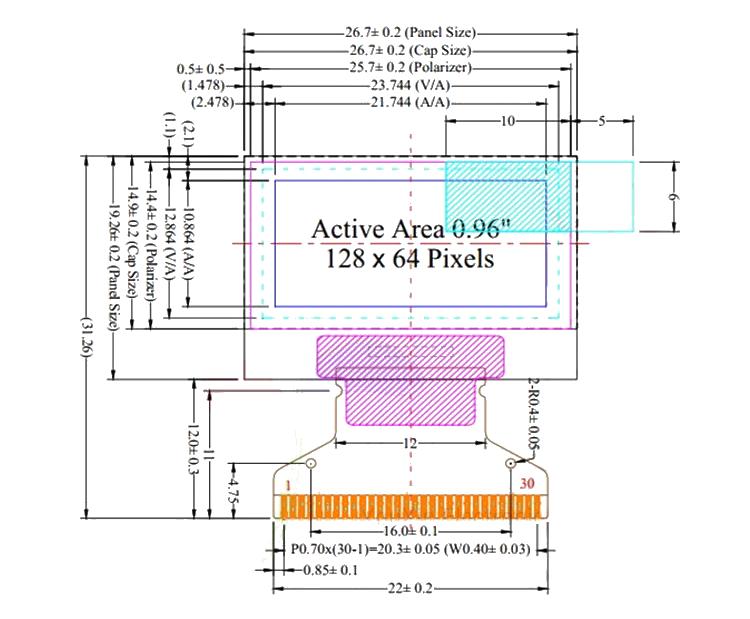 SSD1306 Dimensions