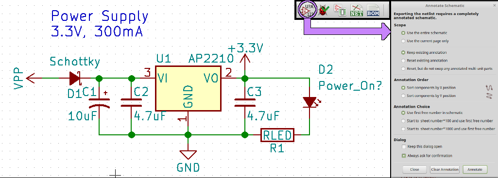 Finished power supply with annotated parts