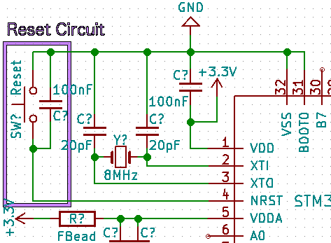 "STM32 ""Reset Button"" circuit"