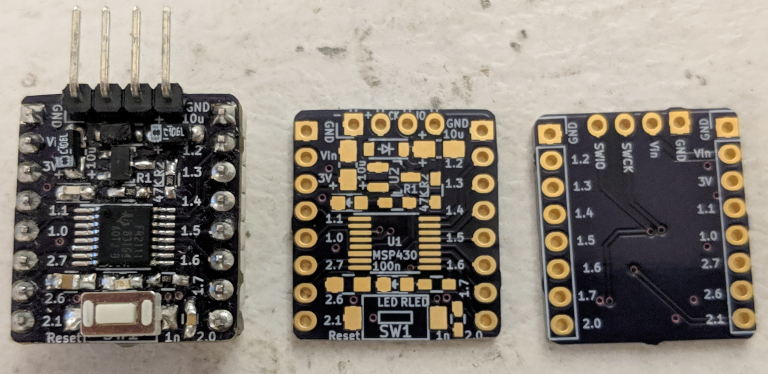 Simple MSP430FR2111 breakout boards