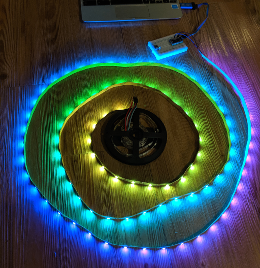 A strand of LEDs lit up in pretty colors