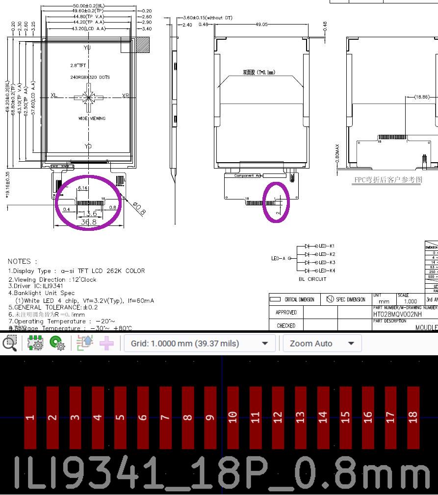 ILI9341 Footprint Size
