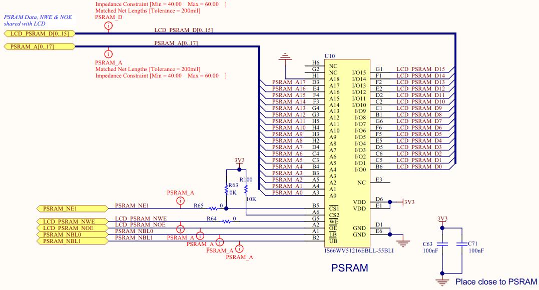 STM32 PSRAM Schematic